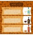Alcohol drinks menu or wine list Bottles glasses vector image vector image
