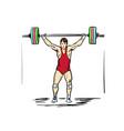 an young man lifting weights vector image vector image