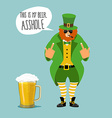 Angry leprechaun with beard Bad leprechaun shows vector image vector image