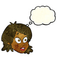 cartoon female face with surprised expression with vector image vector image