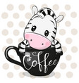 cartoon zebra is sitting in a cup coffee vector image