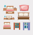 color background with bedroom and elements home vector image vector image