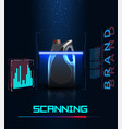 concept of scanning a bottle of engine oil vector image vector image
