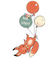 cute squirrel with balloons vector image vector image