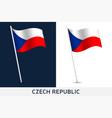 czech republic flag waving national flag czech vector image