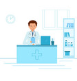 doctor therapist sitting at a table in medical vector image vector image