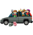 Farmers in gray truck vector image vector image