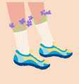 female legs in sneakers vector image vector image