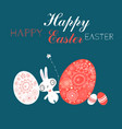 festive easter card with eggs and a rabbit vector image vector image