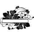 Floral banner black stencil vector image vector image