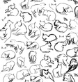 freehand sketch seamless pattern with black cats vector image vector image