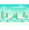 Funny cartoon winter landscape vector image vector image