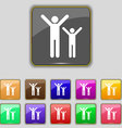 happy family icon sign Set with eleven colored vector image