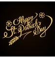 Happy St Patricks Day gold glitter hand lettering vector image