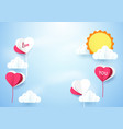 heart shape balloons with sun background vector image vector image