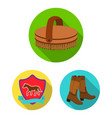 hippodrome and horse flat icons in set collection vector image vector image