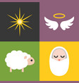 jesus born icons set vector image