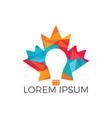 light bulb with maple leaf logo design vector image vector image