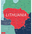 lithuania country detailed editable map vector image vector image