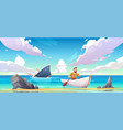 man escaping from sinking ship after shipwreck vector image vector image
