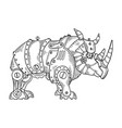 mechanical rhinoceros animal engraving vector image vector image