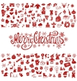 Merry Christmas greeting cardIcons silhouette vector image vector image