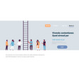 people group climbing career ladder way up new job vector image vector image