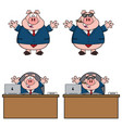 pig cartoon mascot character collection - 2 vector image vector image