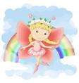 postcard a cute little fairy on vector image vector image