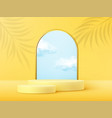 product display podium decorated with realistic vector image vector image