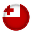 round metallic flag of tonga with screw holes vector image vector image