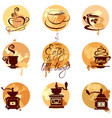 set 2 of coffee cups and coffeemills icons on vector image