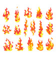 set fire flames cartoon collection abstract vector image vector image