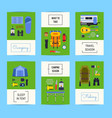set of cards with flat style camping vector image