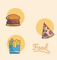 set of food cartoons vector image vector image