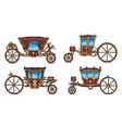 set royal horse chariot or vintage carriage vector image vector image