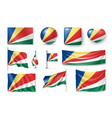 set seychelles flags banners banners symbols vector image