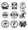 set vintage surfing labels with - surfboard vector image vector image