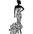 silhouette of elegant wedding dress vector image