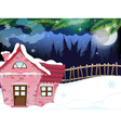 Snow covered forest house vector image vector image