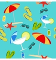 Summer seamless pattern on blue background vector image