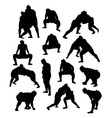 Sumo Traditional Sport Silhouettes vector image vector image