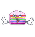 surprised rainbow cake in the cartoon shape vector image vector image