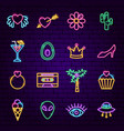 trendy girl neon icons vector image vector image