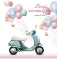 valentines day card with scooter and balloons vector image vector image