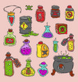 bottle with potion game magic glass elixir vector image