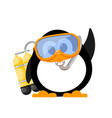 abstract image of a cute penguin with a mask and vector image