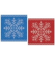 Red and blue stitch patterns with snowflakes vector image