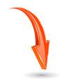 arrow down orange 3d shiny sign vector image