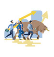 businessmen and bull run competition vector image